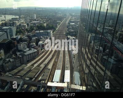 London, UK. 12th Oct, 2013. Views from the Shard .The tallest building in Europe standing approximately 306 metres - Stock Photo