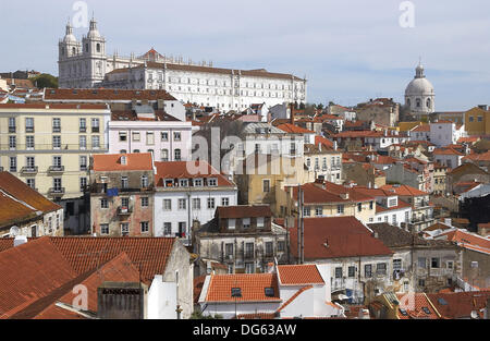Church of Nossa Senhora da Graça, view on Alfama district from the Miradouro Santa Luzia, Lisbon. Portugal - Stock Photo