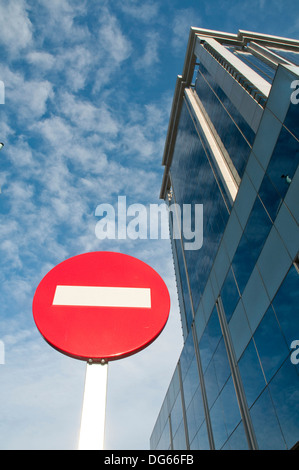 No entry road sign and office building. Mendez Alvaro street, Madrid, Spain. - Stock Photo