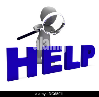 Help Character Showing Helpline Helpdesk Assist Or Support - Stock Photo