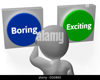 Boring Exiting Buttons Showing Dull Or Thrilling - Stock Photo