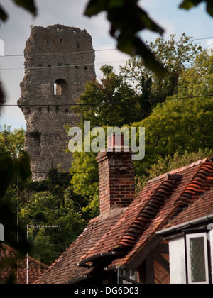 Bramber Castle as seen from the village of Bramber in West Sussex - Stock Photo