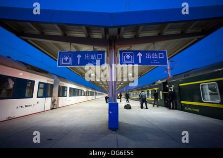 Train station early evening on the train line Shanghai Lhasa in Tibet. The journey takes 48 hours, April 14, 2013, - Stock Photo
