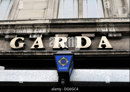 Garda Police Station sign, Dublin, Ireland - Stock Photo