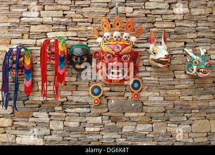 masks for tsechu festival of bhutan - Stock Photo