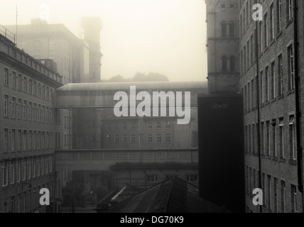 A foggy day at Dean Clough Mills, Halifax, West Yorkshire, UK. - Stock Photo