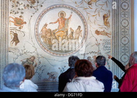 Tunisia: City of Tunis.Bardo National Museum. The god neptuno and four stations. Roman mosaic - Stock Photo