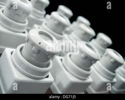 Closeup view of a retro fuses panel. - Stock Photo