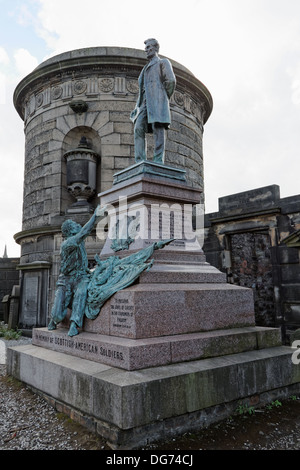 A freed slave depicted reaching to Abraham Lincoln in the Scottish American Soldiers Monument Old Calton Burial - Stock Photo