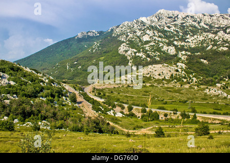 Velebit mountain Prezid pass green landscape, Dalmatia, croatia - Stock Photo