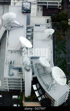 Aerial view of TVNZ headquarters in Auckland on Oct 08 2013.TVNZ, is a government-owned national broadcaster broadcasting - Stock Photo