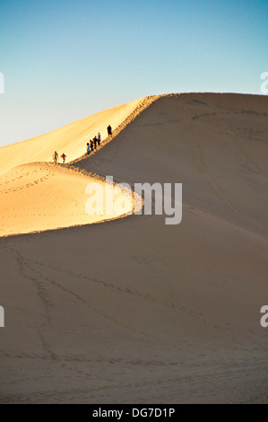 Seven hikers walking accross the sand dunes in Death Valley, California - Stock Photo