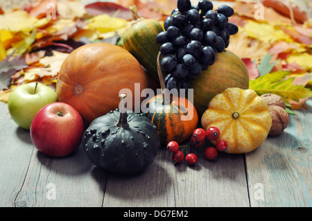 Small decorative pumpkins with fruits and vegetables over wooden background - Stock Photo