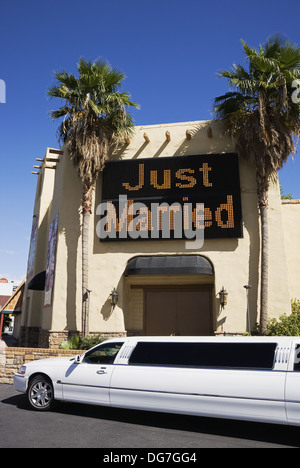 Stretch Limo Outside Viva Las Vegas Wedding Chapel Nevada USA