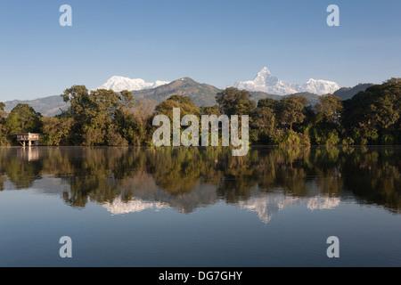 Annapurna Range from Phewa Lake - Pokhara, Pokhara Valley, Gandaki Zone, Nepal - Stock Photo