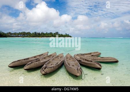 Group of empty kayaks over Muri Lagoon in Rarotonga Cook Islands