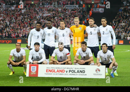London, UK. 15th Oct, 2013. England team before the World Cup Qualifier between England and Poland from Wembley - Stock Photo