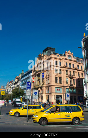 Fair place taxi stand with AAA company cars Vaclavske namesti the Wenceslas square central Prague Czech Republic - Stock Photo