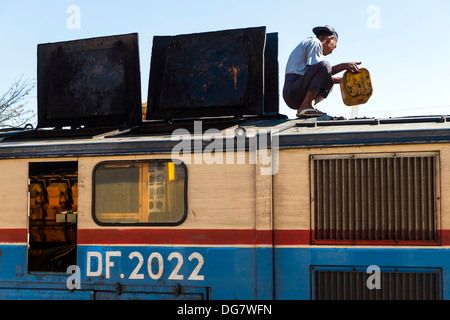 Maintenance work at engine, Aungban, Myanmar, Asia - Stock Photo