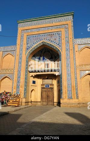 Muhammad Rakhim Chan Madrassah, Ichan Kala, historic adobe oldtown of Khiva, Chiva, Silk Road, Unesco World Heritage - Stock Photo