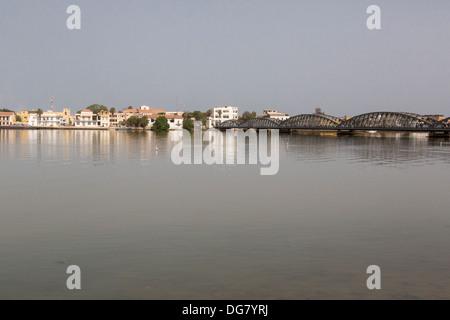 Senegal, Saint Louis. View from the Mainland, across the River Senegal, showing Pont Faidherbe, built 1897. - Stock Photo