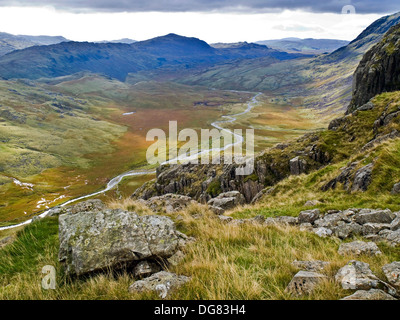 Great Moss and Upper Eskdale from Esk Buttress, Lake District National Park,.Cumbria - Stock Photo