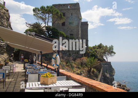 Restaurant at Monterosso al Mare, Cinque Terre (National Park & Unesco World Heritage Site), Liguria, Italy - Stock Photo