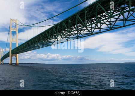 Mackinac Bridge that spans the distance between Michigan's upper and lower peninsula across the Straits of Mackinac. - Stock Photo
