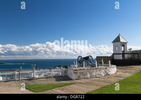 Looking from Fort Mackinac on Mackinac Island out into the Straits of Mackinac. There is canon and a look out tower. - Stock Photo