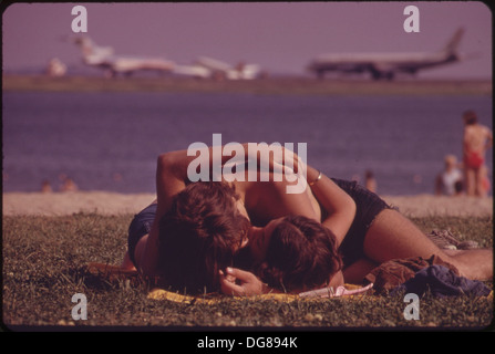 CONSTITUTION BEACH-WITHIN SIGHT AND SOUND OF LOGAN AIRPORT'S TAKEOFF RUNWAY 22R 548467 - Stock Photo