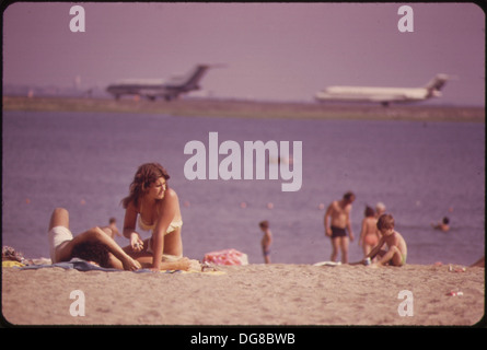 CONSTITUTION BEACH-WITHIN SIGHT AND SOUND OF LOGAN AIRPORT'S TAKEOFF RUNWAY 22R 548466 - Stock Photo
