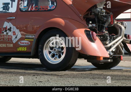 vw drag car beetle dragster dragsters race racing volkswagen rear engined turbo turbocharged flat four 4 strip track - Stock Photo
