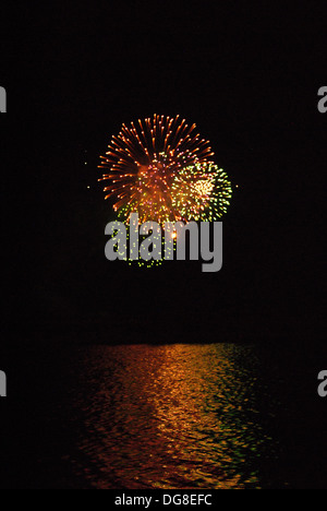 Fireworks over Lake Michigan at Navy Pier - Stock Photo