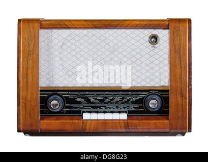 Old vintage radio from the 1950s isolated over white - Stock Photo