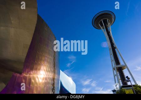 EMP Museum and Space Needle. Seattle, Washington, USA. - Stock Photo