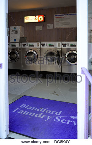 Laundrette, Blandford Forum, Dorset England UK - Stock Photo