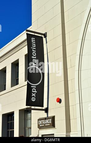 Exploratorium Museum sign at Pier 15 in San Francisco - Stock Photo