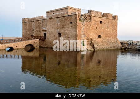 Medieval fort in Paphos port on Cyprus - Stock Photo