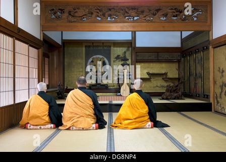 monk meditation in Henjoko monastery monastère Henjôkô  Japon, province de Wakayama, Mont Kôyasan, ensemble de temples - Stock Photo