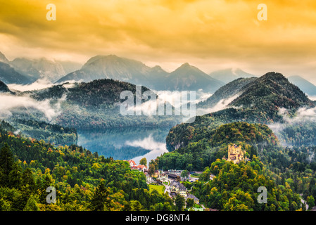 Misty day in the Bavarian Alps near Fussen, Germany. - Stock Photo