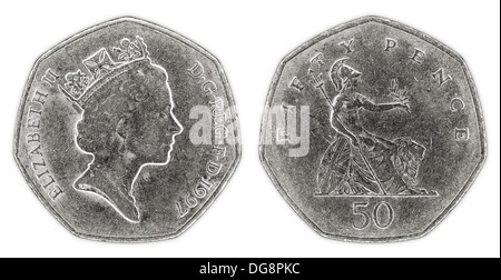 A well worn fifty pence coin with Queen Elizabeth II on a white background - Stock Photo