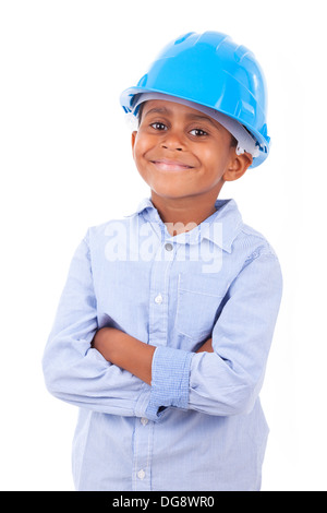 African American little boy wearing a protection hat, isolated on white background - Black people - Stock Photo