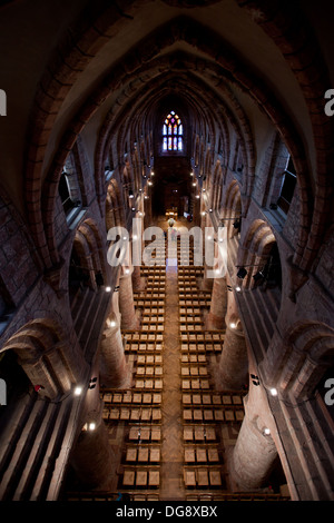 Interior view of cathedral of St Magnus, Kirkwall, Orkney UK - Stock Photo