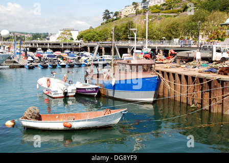 fishing boats in the harbour at torquay, devon, uk - Stock Photo