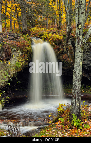Scott Falls in autumn Au Train Michigan USA - Stock Photo