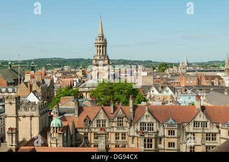 Skyline of Oxford from St Mary's Tower, Oxford, Oxfordshire, England - Stock Photo