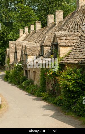 Arlington Row Cottages, Bibury, Gloucestershire, England - Stock Photo