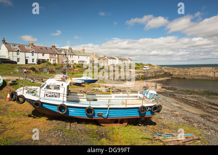 Craster village and harbour on the Northumberland coast, UK. - Stock Photo