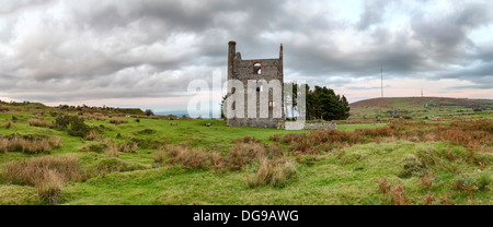 A panoramic view of Minions on Bodmin Moor in Cornwall with an old ruined engine house for a tin mine - Stock Photo