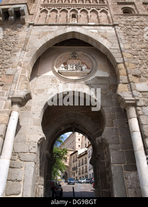 Puerta del Sol, Mudejar Style Construction, Wall of Toledo, Castile La Mancha, Spain - Stock Photo